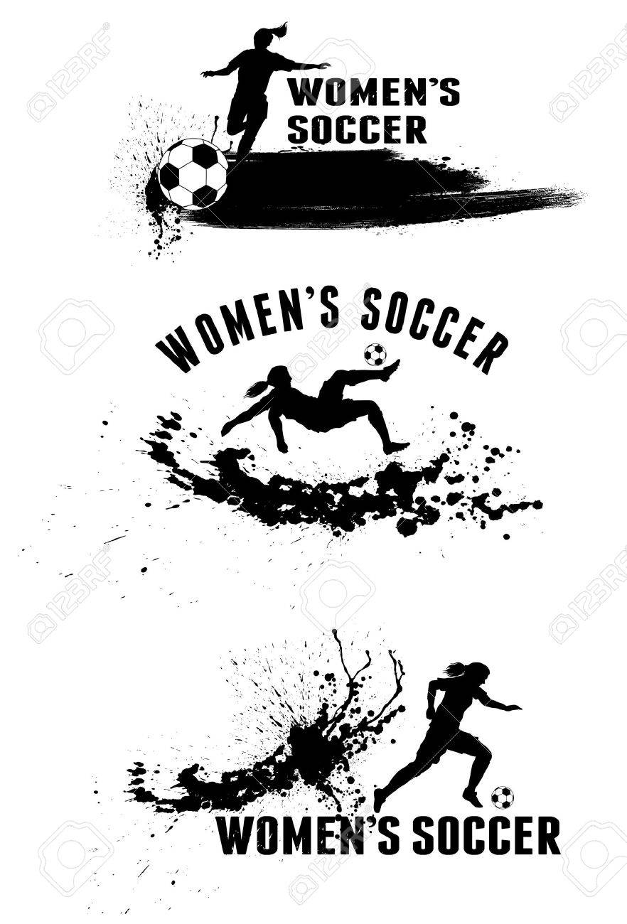 Silhouette of female soccer players on splash stains background - 41822250