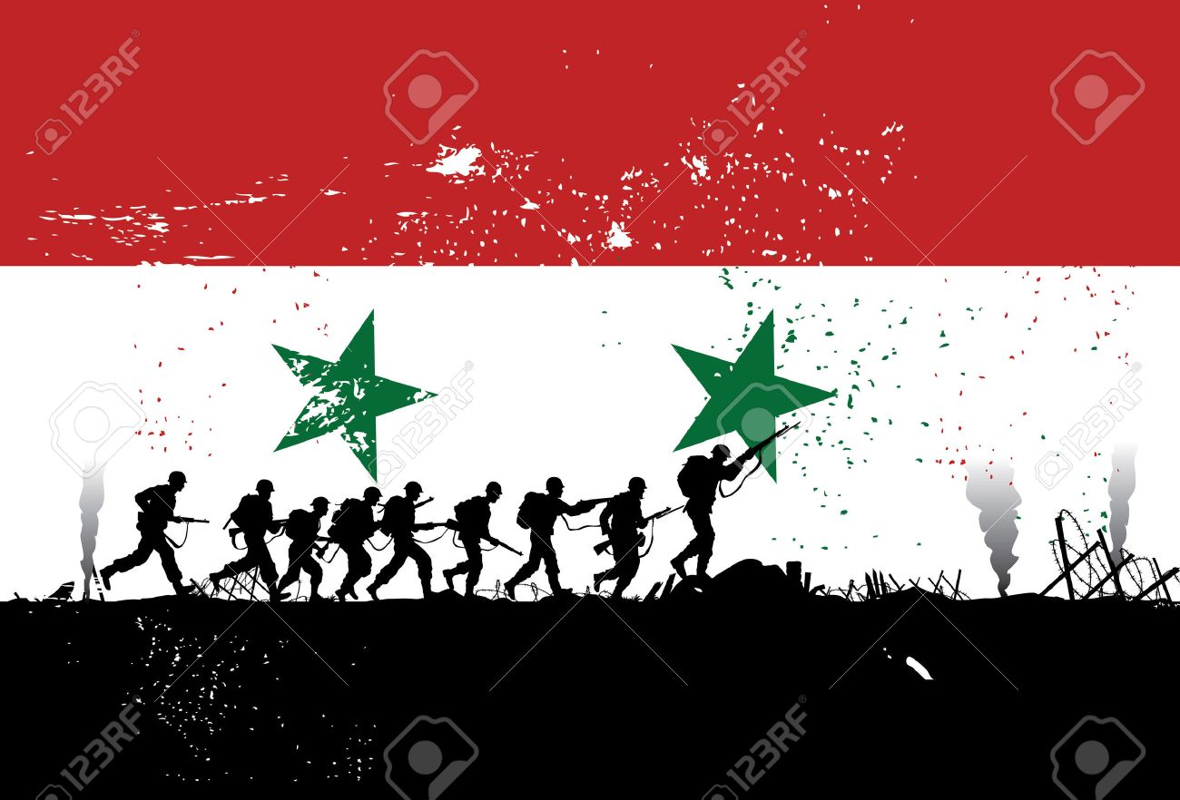 Silhouette Of Soldiers Fighting At War With Syria Flag As A - Syria flag