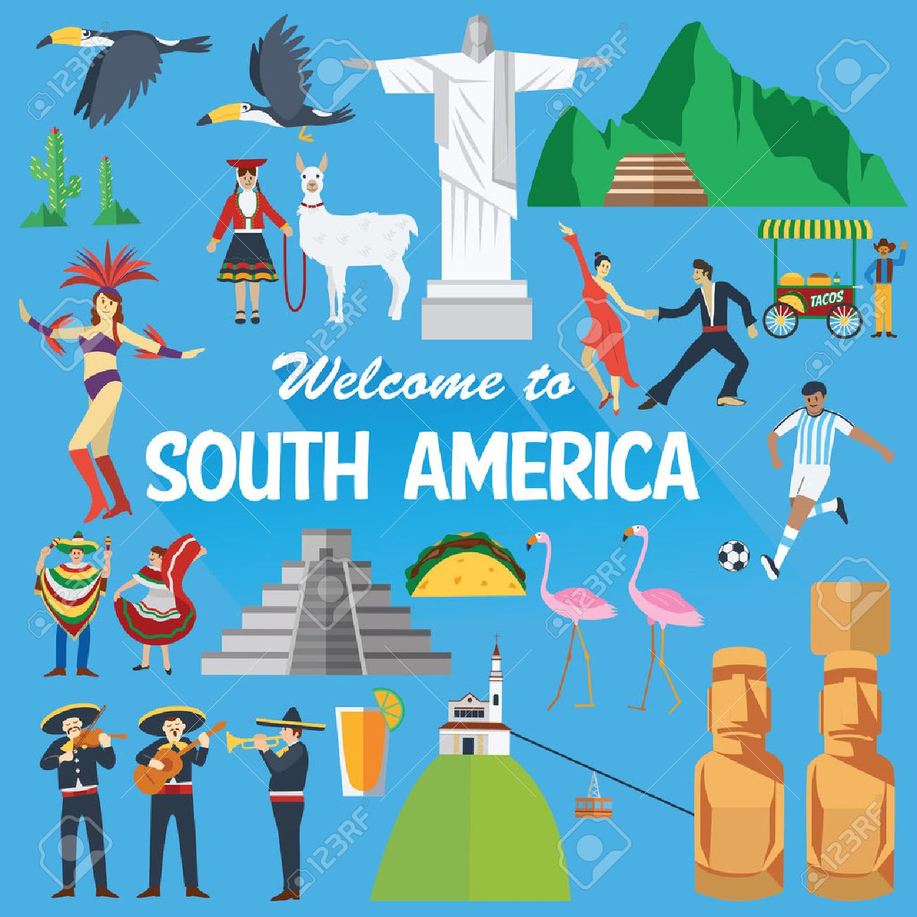 Flat design, Illustration of South America landmarks and icons - 51558180