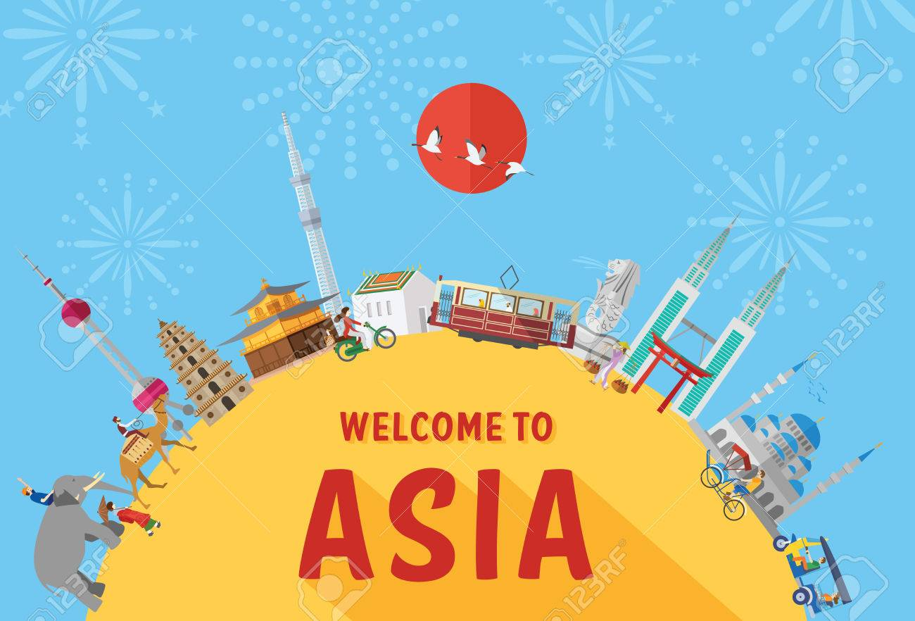 Flat design, Illustration of landmarks and icons in Asia - 51655239