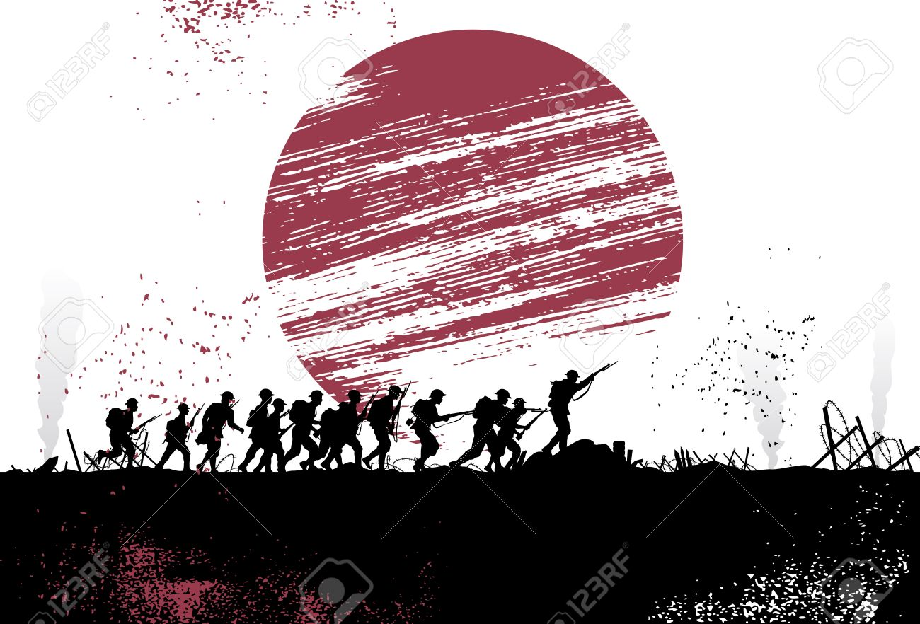 Silhouette group of soldiers in battlefield with Japanese flag as a background. All objects are grouped. - 52178444