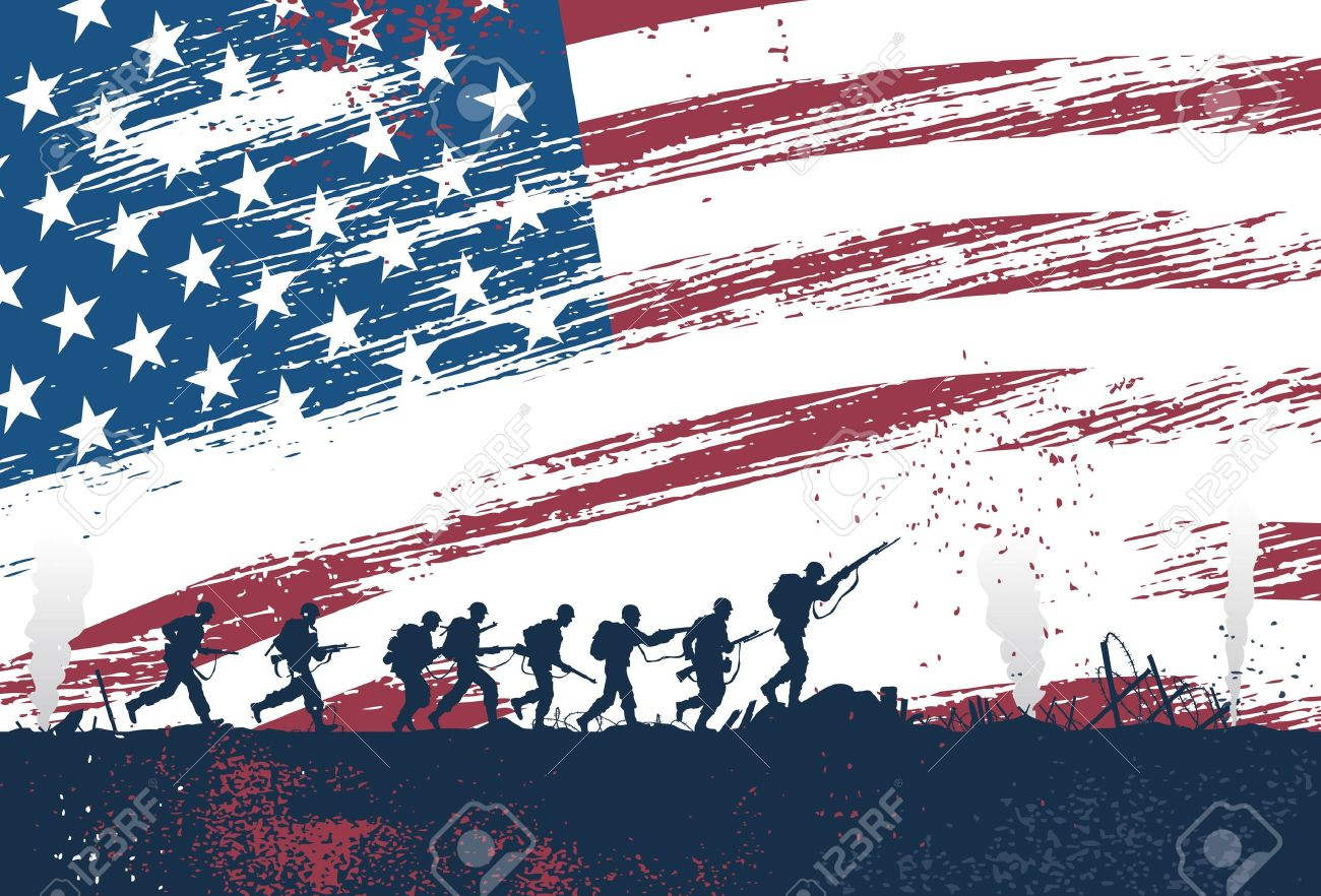 Silhouette of soldiers fighting at war with American flag as a background - 52178454
