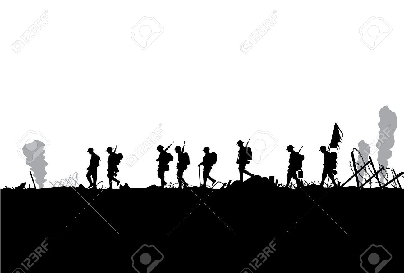 Silhouette of military defeated in war - 52178458