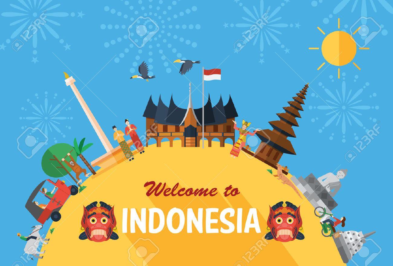 Flat design, Illustration of Indonesia Icons and landmarks - 53579865