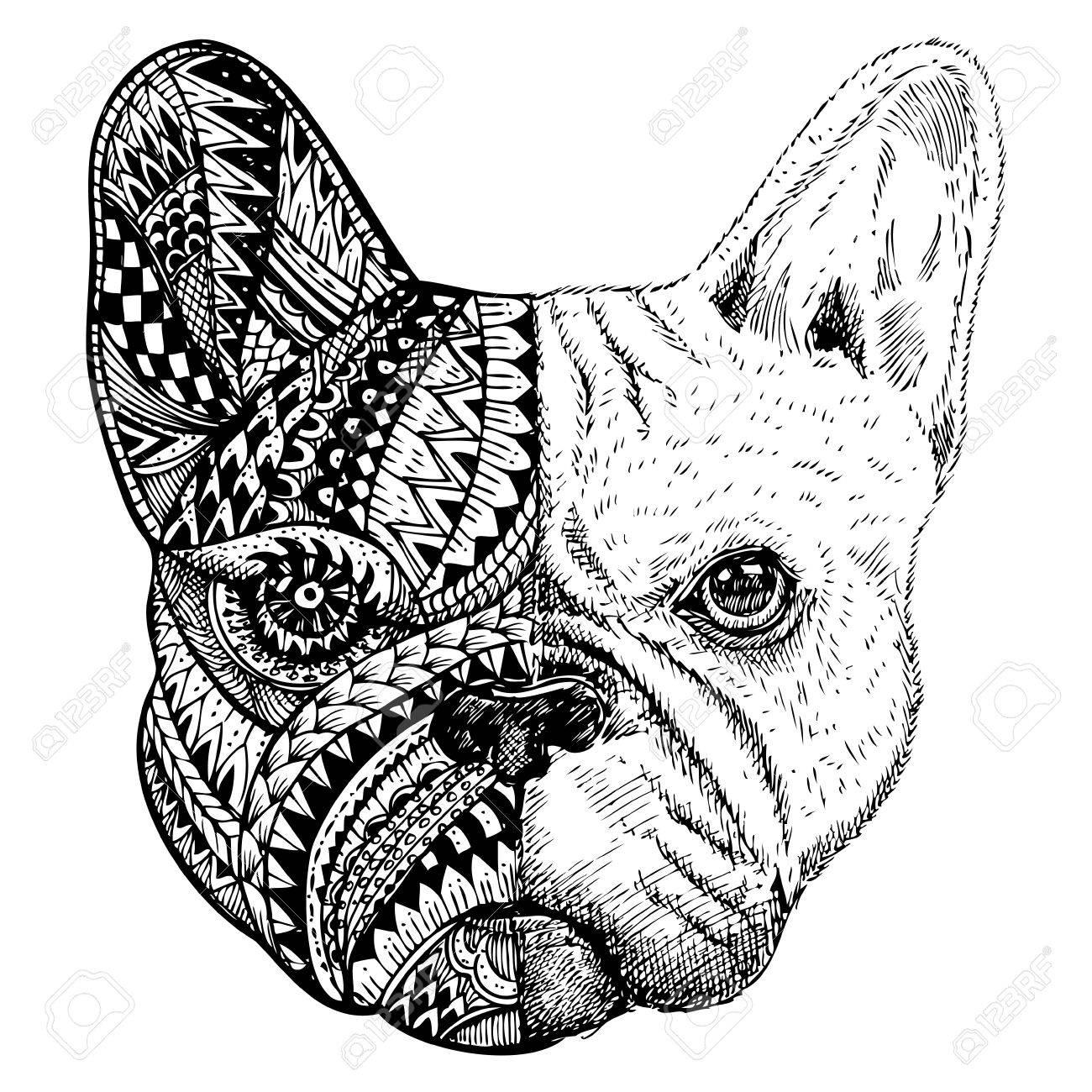 Hand Gezeichnet Französisch Bulldog Kopf Stilisiert Lizenzfrei ...
