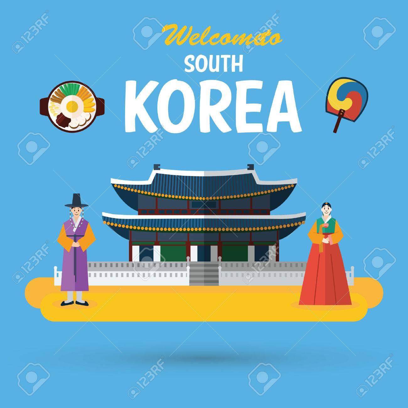 Flat design, South Korea landmark and icons - 61003126