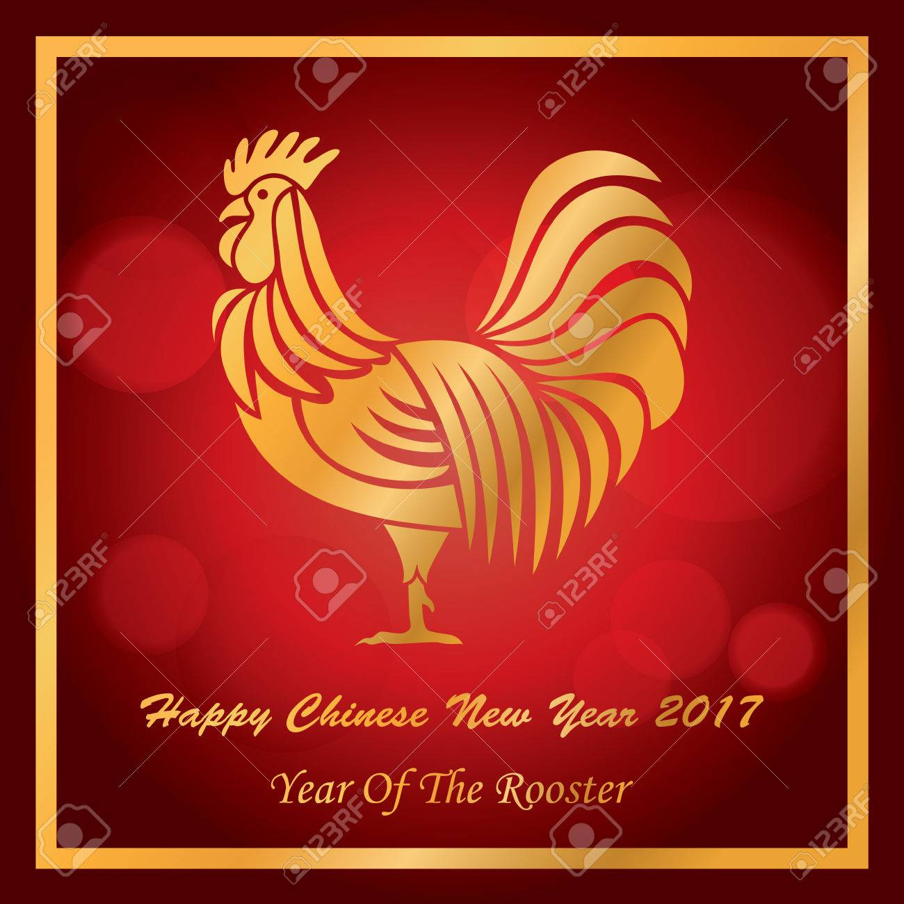 New year 2017 greeting pictures year of rooster happy chinese new year - Happy Chinese New Year 2017 Card Year Of The Rooster Vector Stock Vector