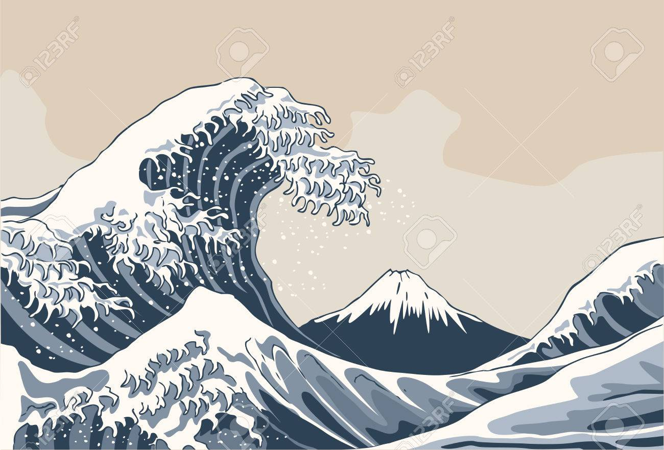 The great wave, japan background. hand drawn illustration - 68300625
