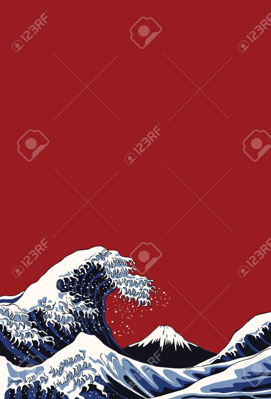 Ocean waves, Japanese style illustration - 76230555