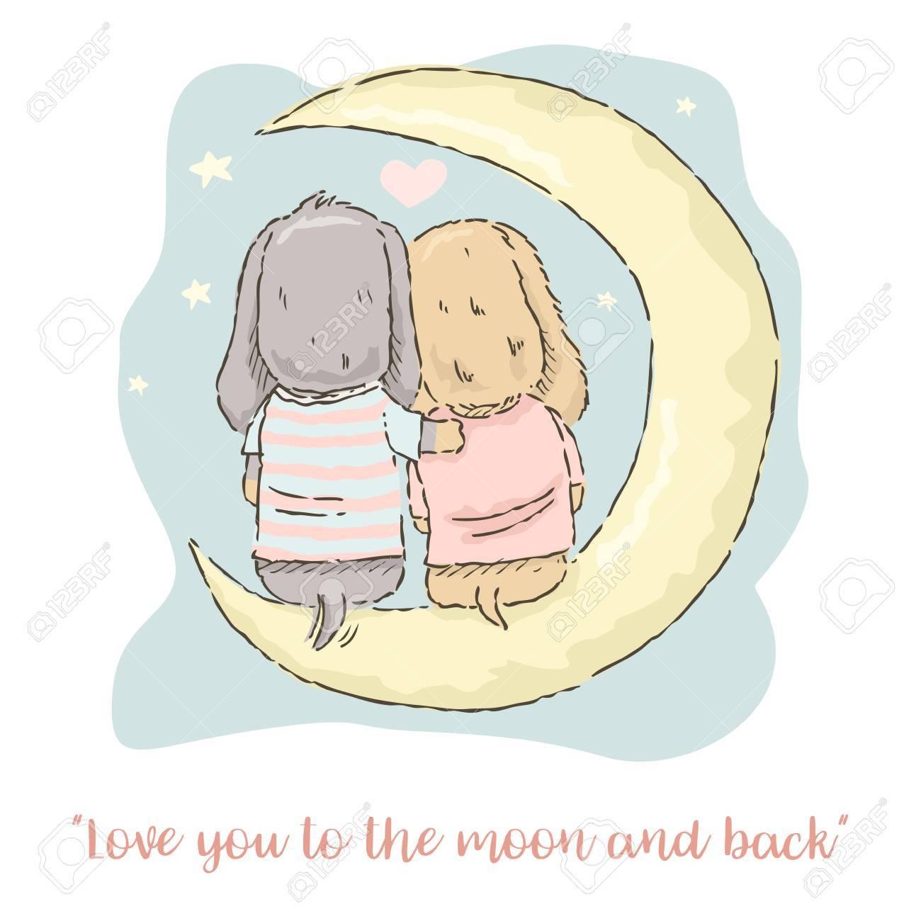 Carte De Saint Valentin Dessin Anime Mignon Couple De Teckel Assis