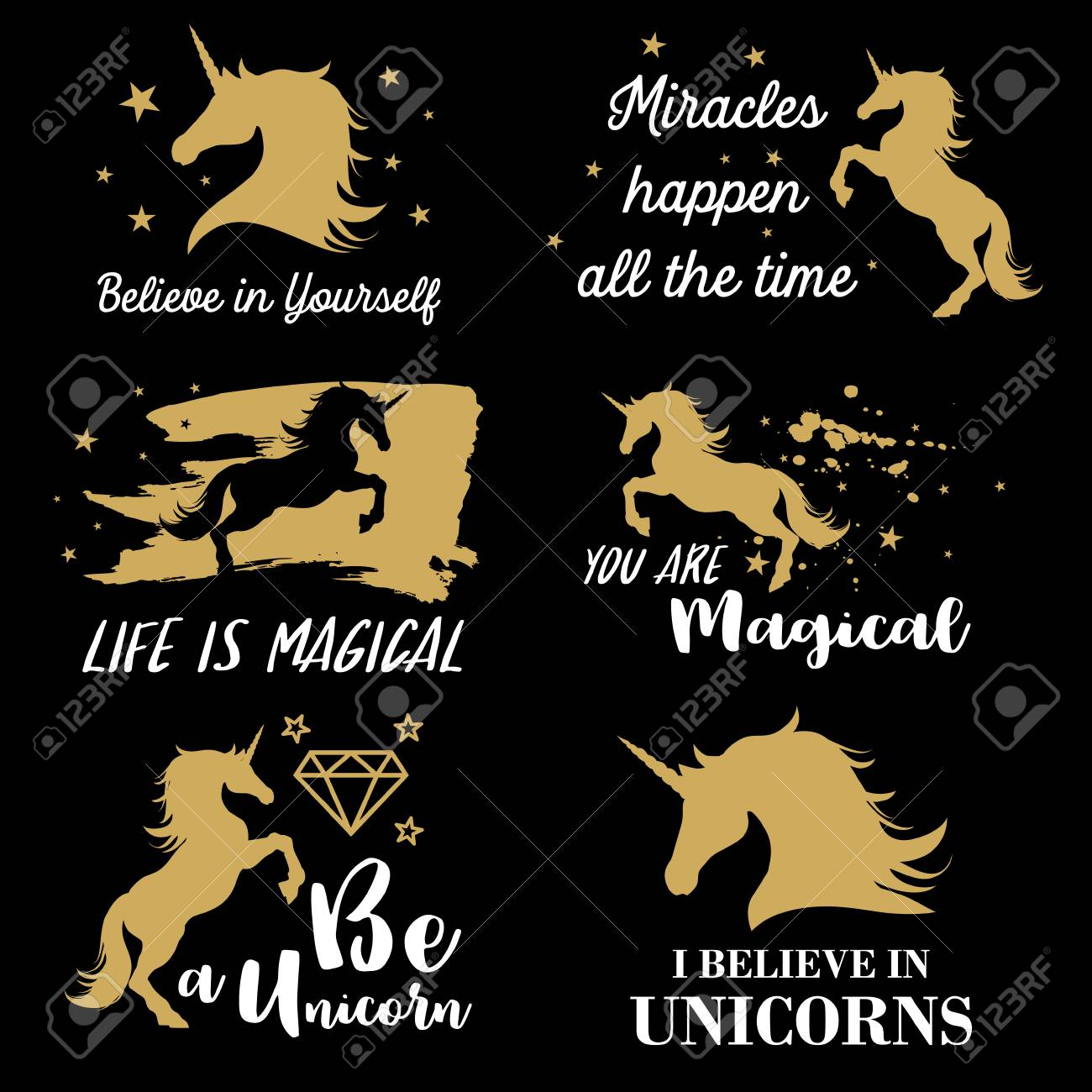 Illustration Of Unicorn With Motivation And Inspirational Quotes