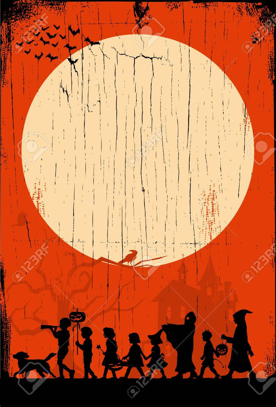 Halloween Trick Or Treat Silhouette.Silhouette Of Children Go Trick Or Treating On Halloween On A