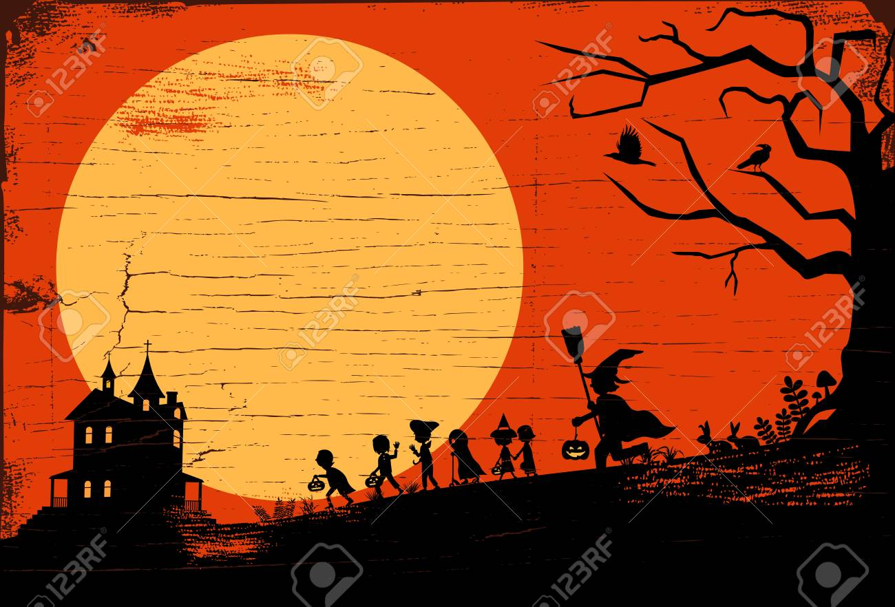 Halloween Trick Or Treat Silhouette.Halloween Background Silhouette Of Children Going Trick Or Treating
