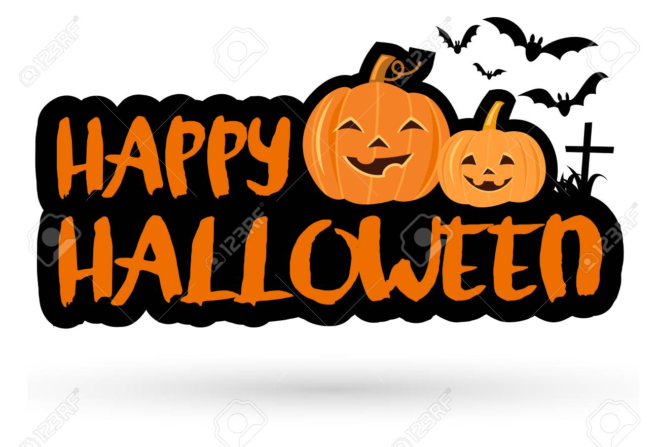 Happy Halloween Lettering Banner With Cute Cartoon Pumpkins And Royalty Free Cliparts Vectors And Stock Illustration Image 87204705