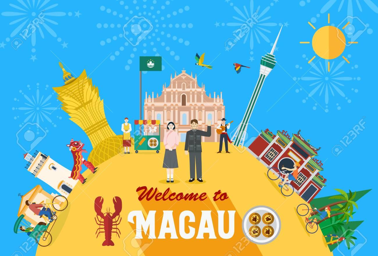 Illustration of Macau landmark vector - 151792045