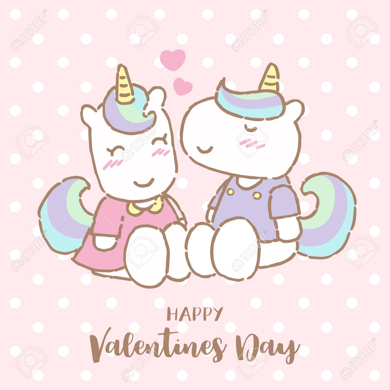 Cute Unicorn Kissing His Girlfriend On Valentine S Day Vector