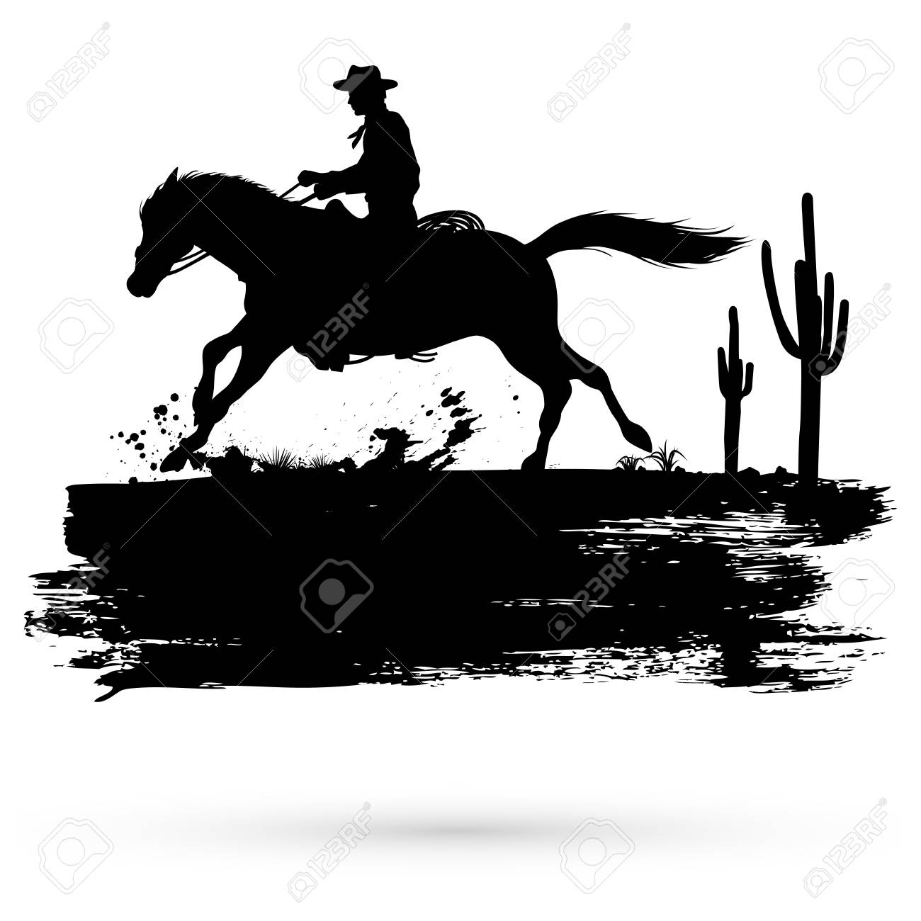 Grunge Banner Silhouette Of A Cowboy Riding Horse Vector Royalty Free Cliparts Vectors And Stock Illustration Image 92925747