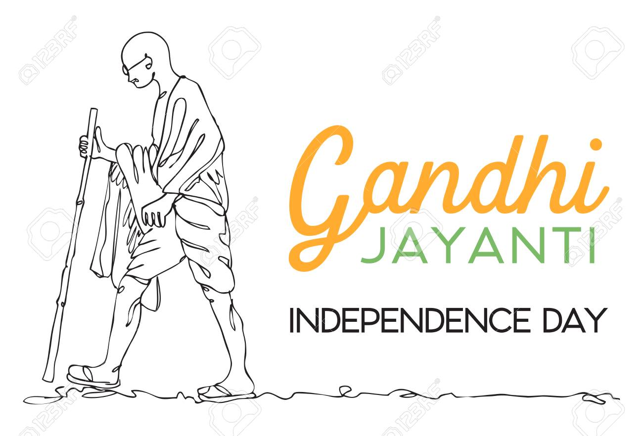 Line drawing mahatma gandhi vector stock vector 92872477