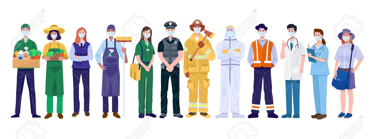 Thank You Essential Workers Concept. Various occupations people wearing face masks. Vector - 146596026