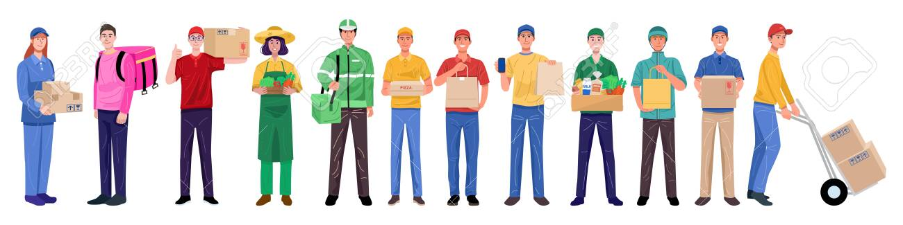 Flat design concept, Set of delivery man in various characters. Vector - 147431632