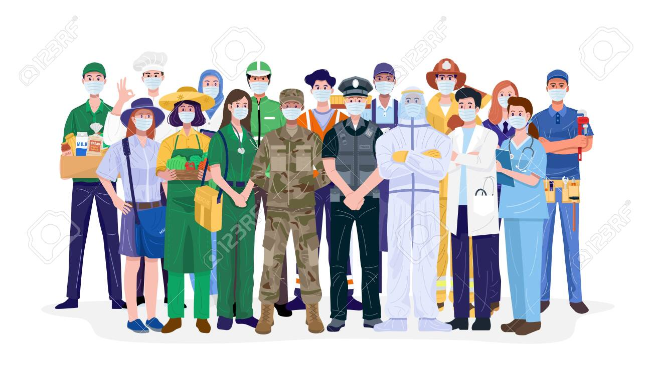 Essential workers, Various occupations people wearing face masks. Vector - 152749377