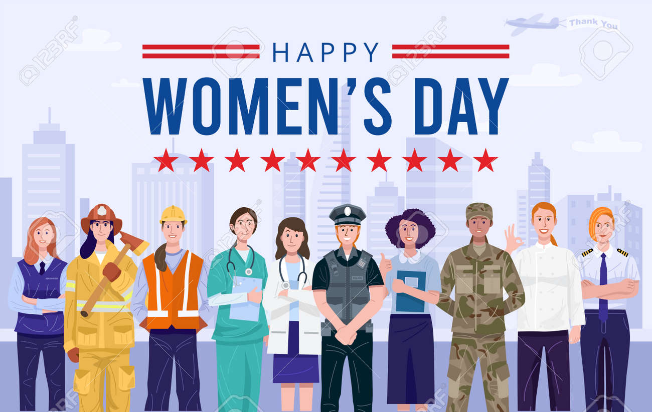 International women's day. Group of women with various occupations. Vector - 165330853
