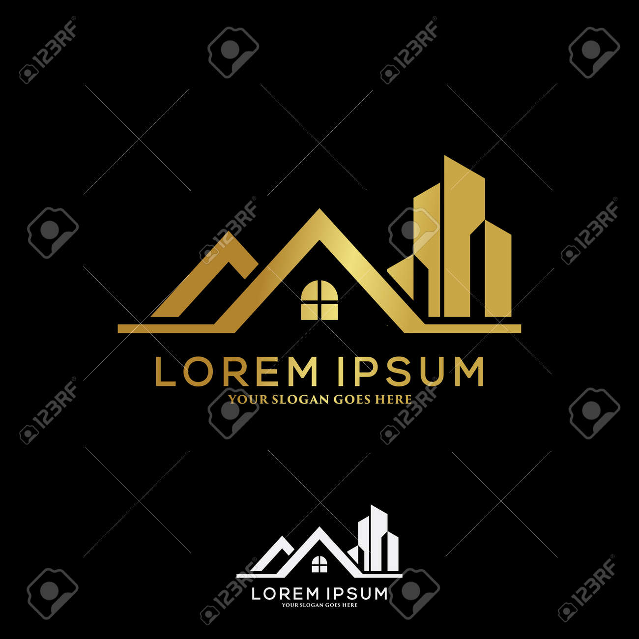 Luxury building construction logo template design concept. Real estate and architecture logo vector. - 169734745