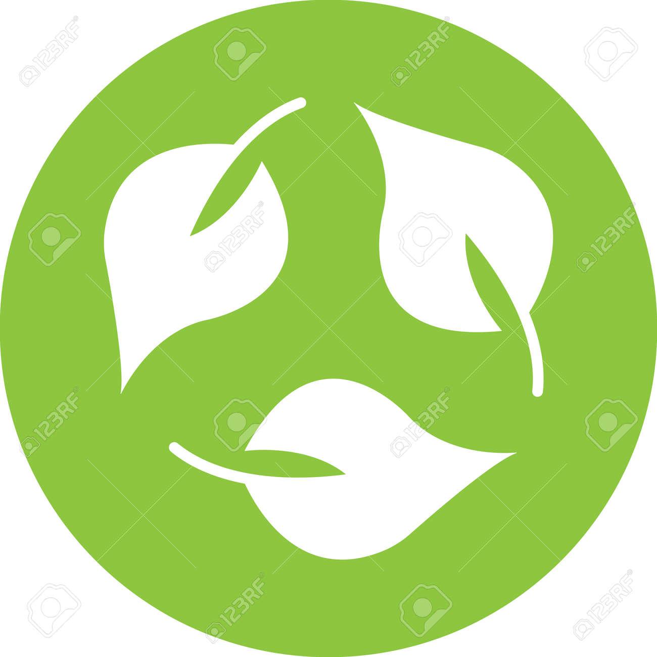 recycling leaf icon illustration - 165839477