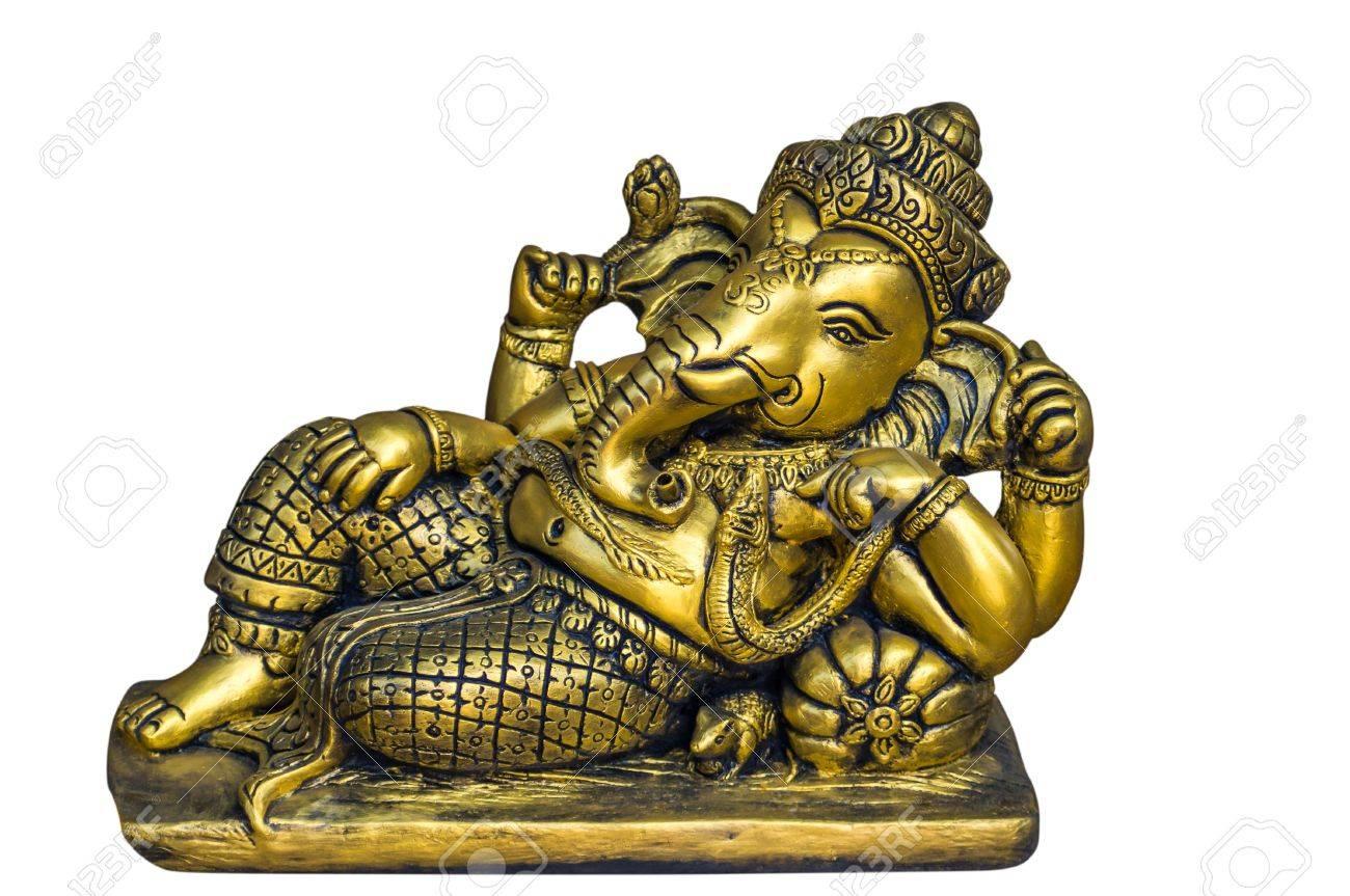 Golden Hindu God Ganesh Over A White Background