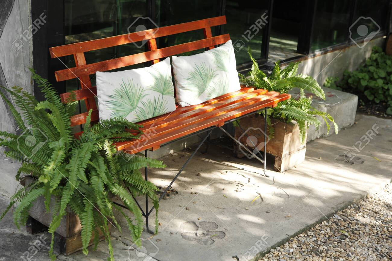Awe Inspiring Wooden Old Bench In The Cafe Garden Cjindustries Chair Design For Home Cjindustriesco