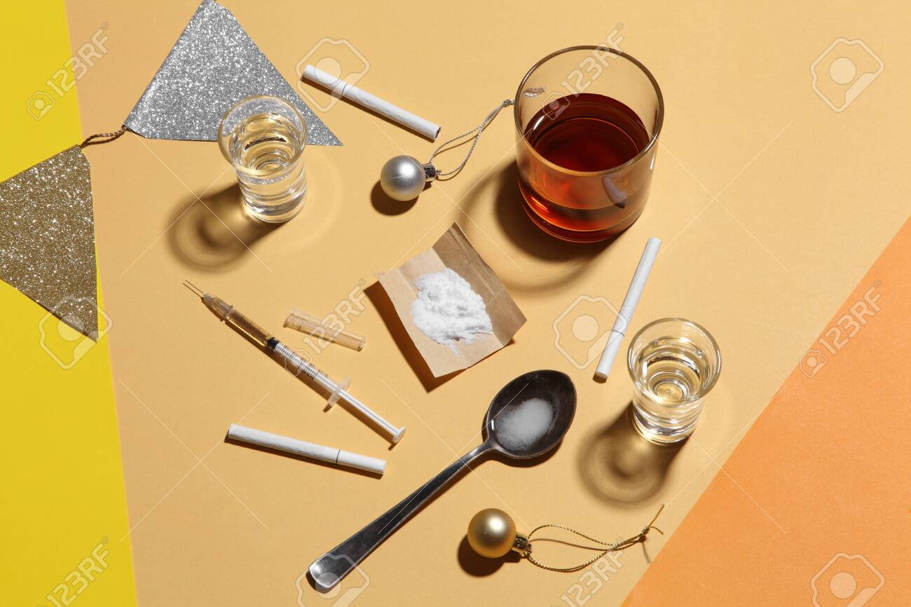 cocaine in paper and equipment on color background, Background from cocaine party - 130618248