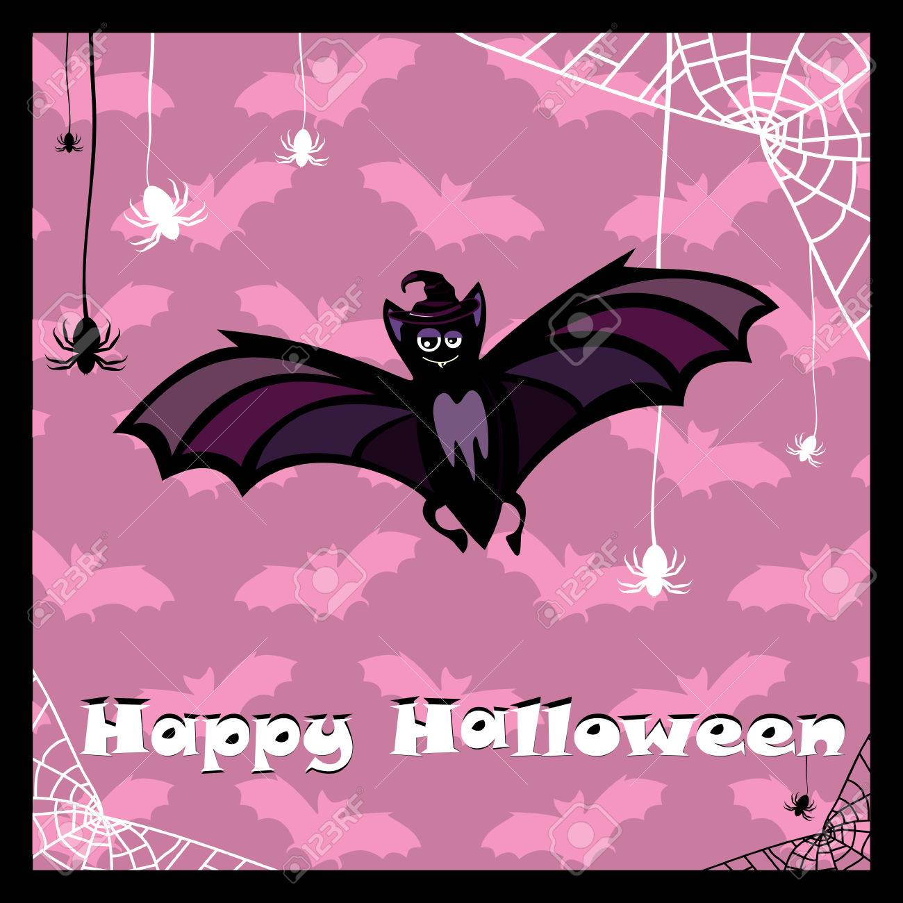 greeting card with cute halloween bat Stock Vector - 6762792