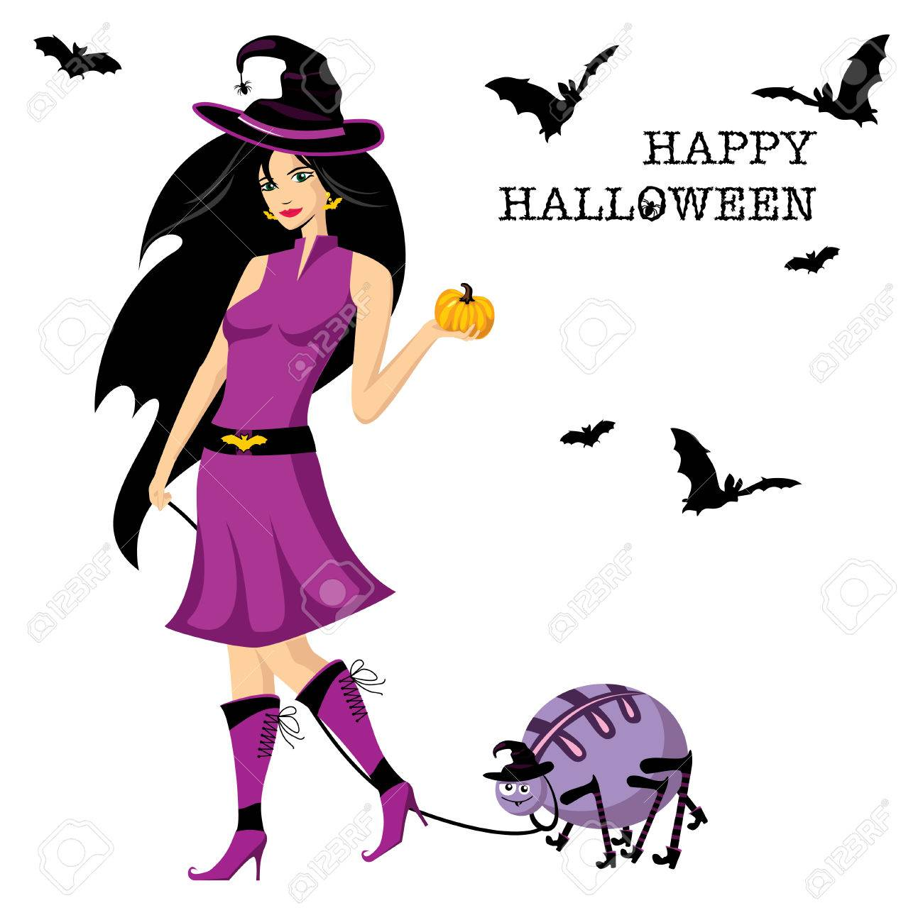 Beautiful witch with pumpkin and spider Stock Vector - 6762794