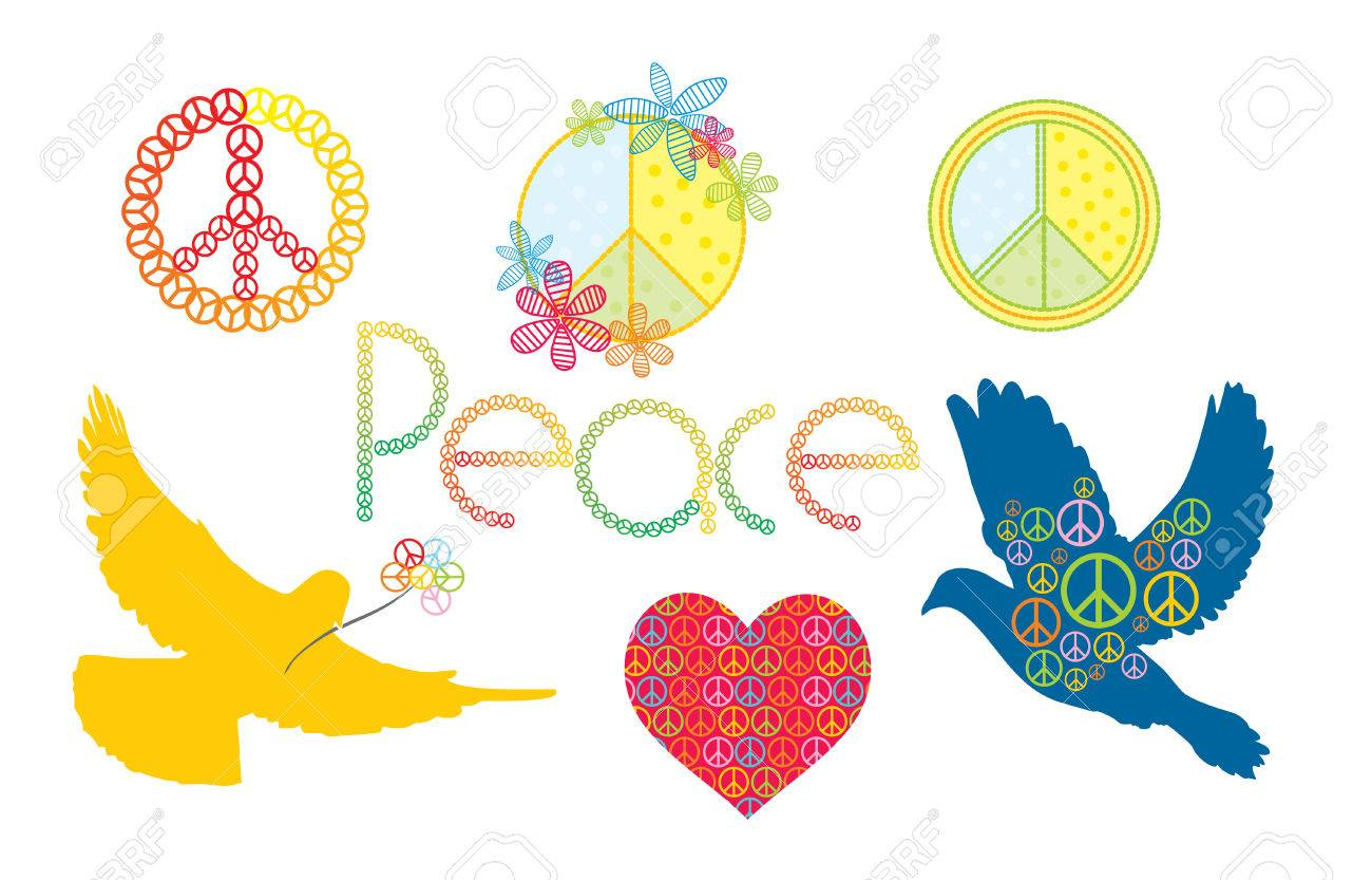 Set Of Peace Symbols Royalty Free Cliparts Vectors And Stock