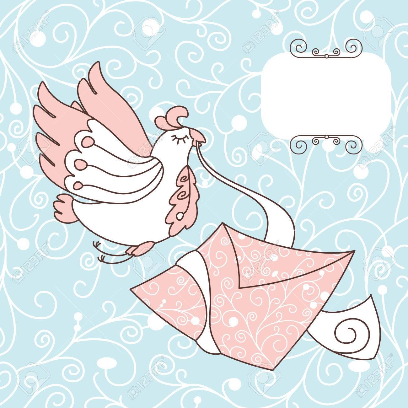 手紙イラストかわいい鳥 ロイヤリティフリークリップアート、ベクター