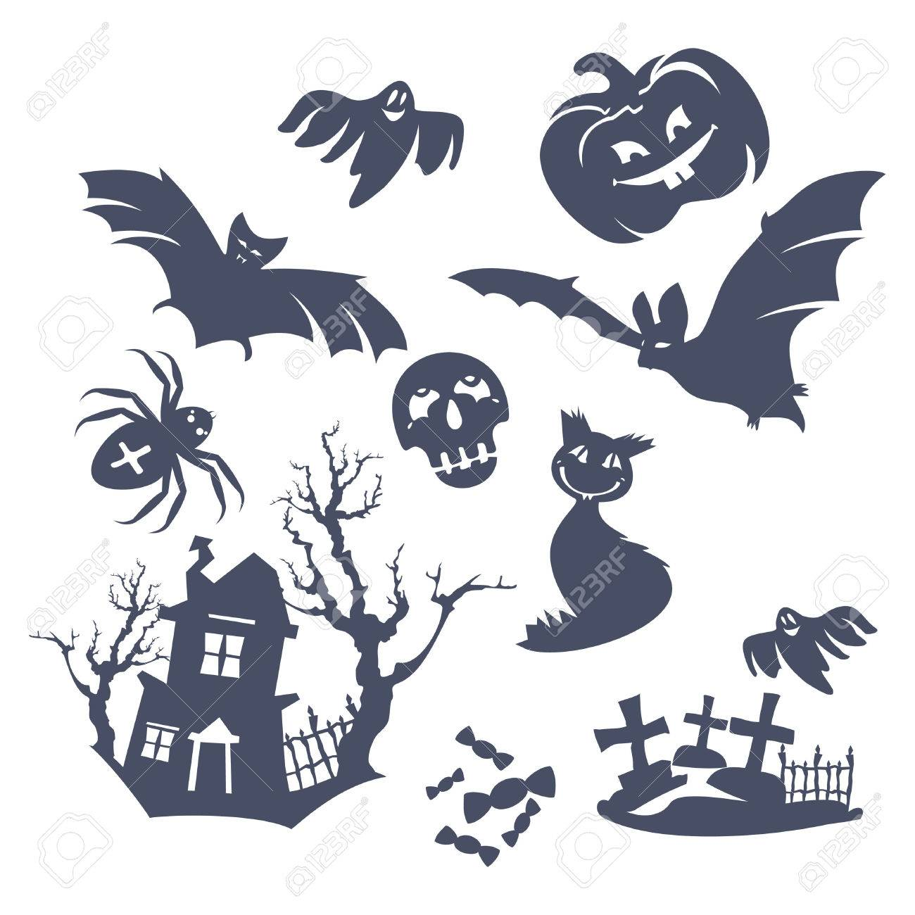 Halloween decoration clipart - Set Of Different Halloween Icons Stock Vector 7920135