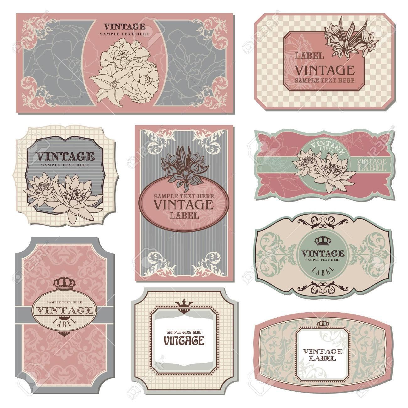 set of retro vintage labels illustration Stock Vector - 9152956