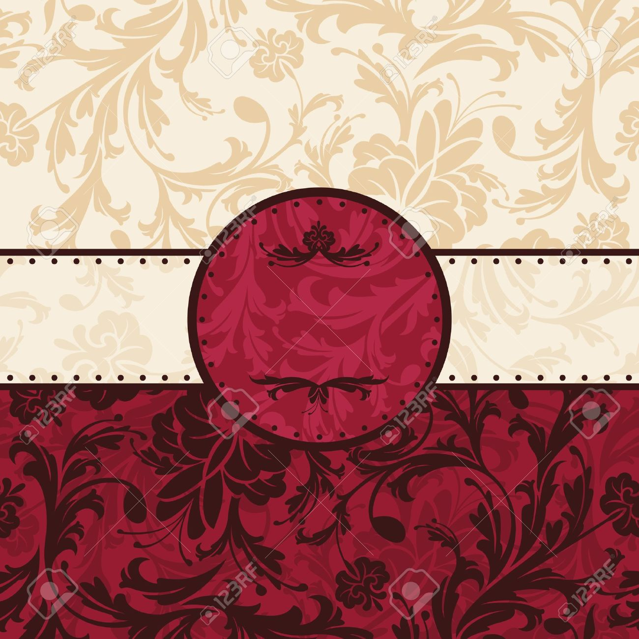 Abstract Retro Vintage Floral Frame Royalty Free Cliparts Vectors