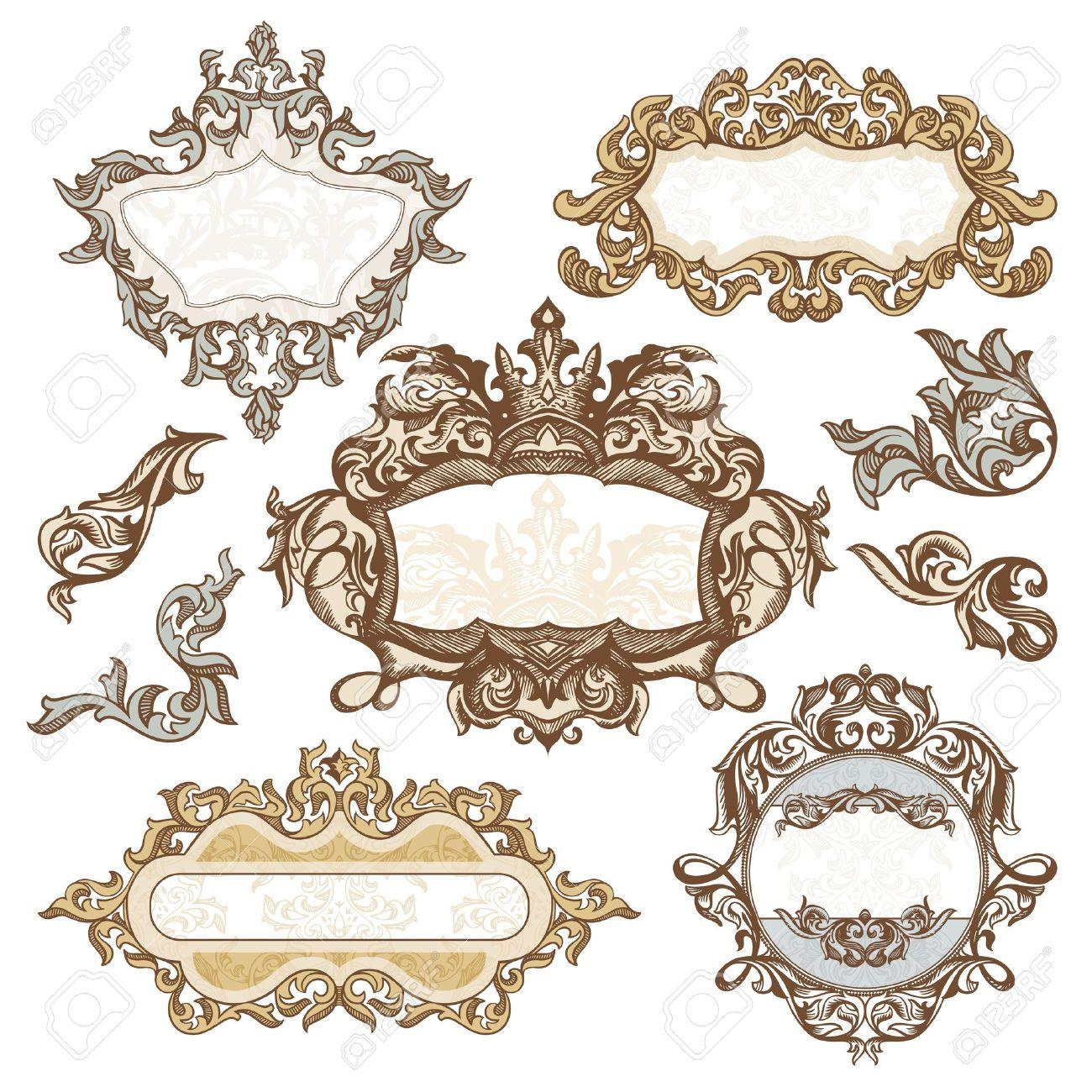 set of royal vintage frames illustration Stock Vector - 10993509