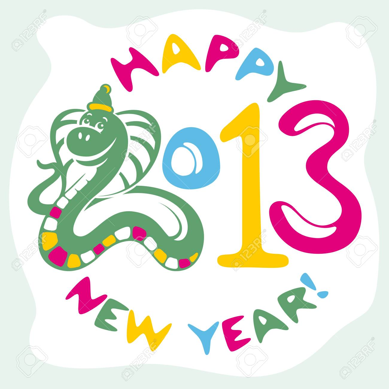 new year card with funny snake vector illustration Stock Vector - 14924657
