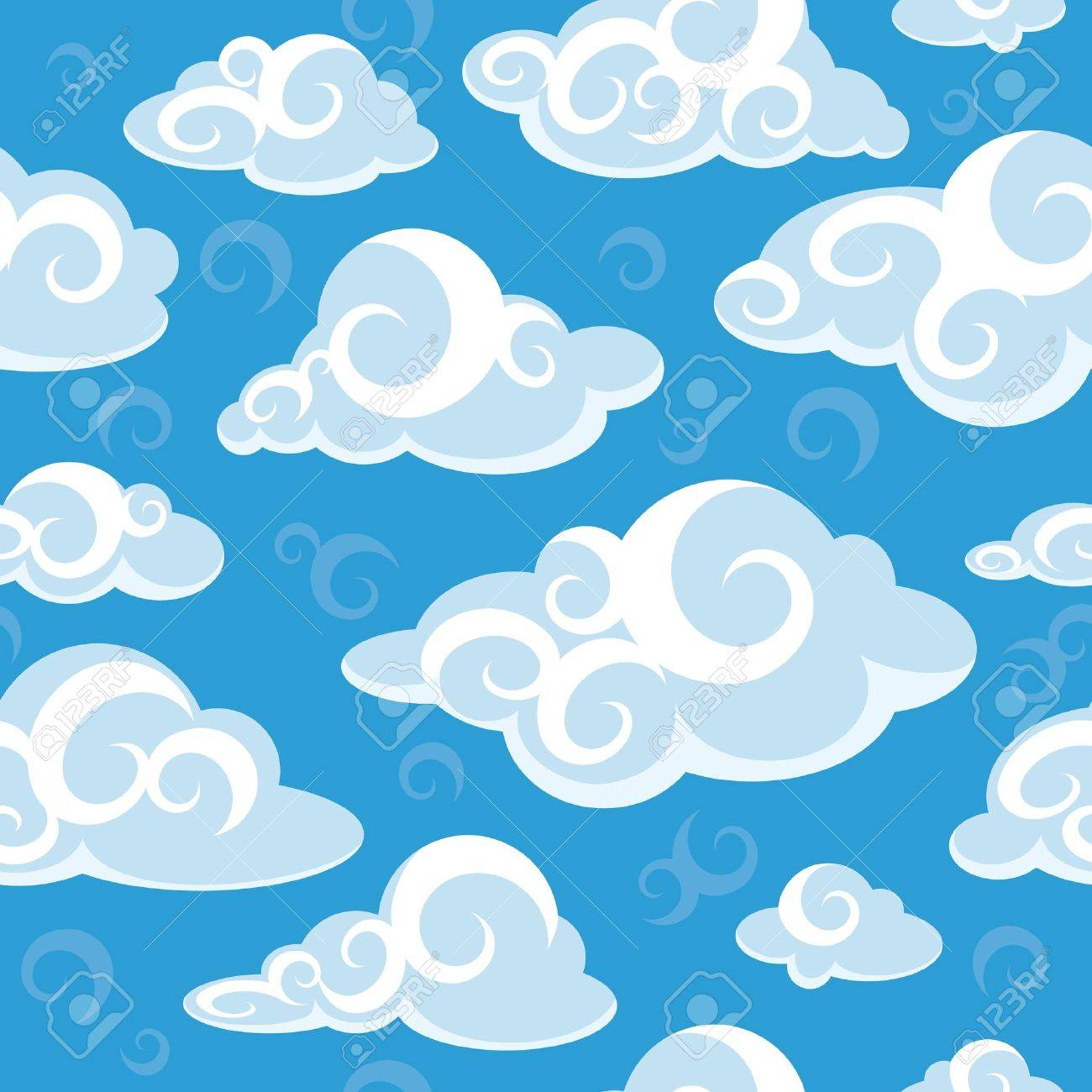 abstract seamless pattern with clouds vector illustration Stock Vector - 15983891