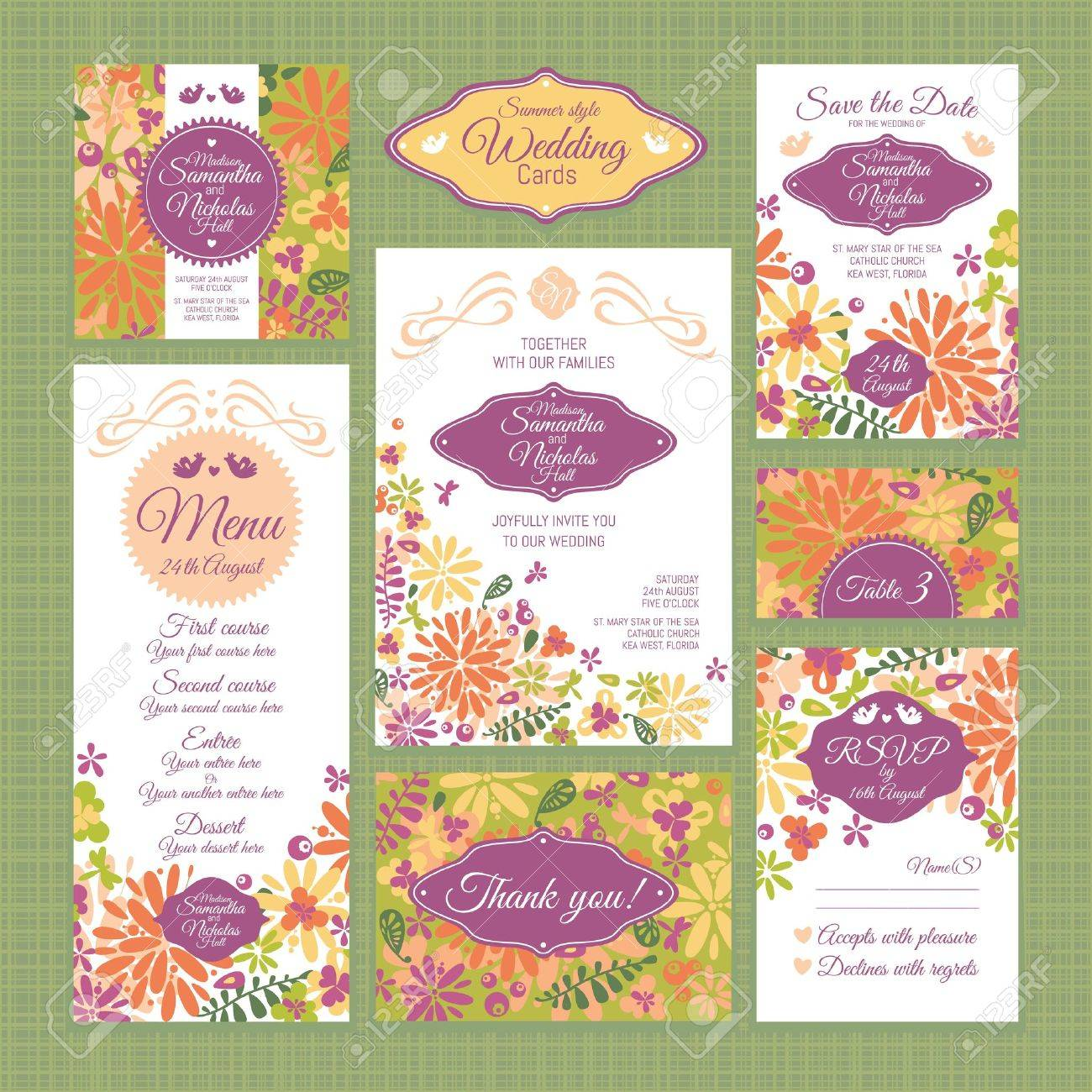 set of wedding cards wedding invitations thank you card save