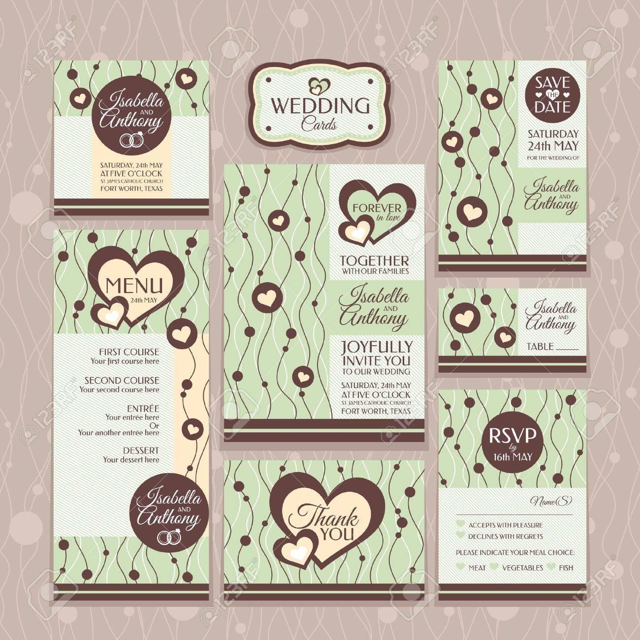 Set Of Wedding Cards Wedding Invitations Thank You Card Save – Wedding Stationery Thank You Cards