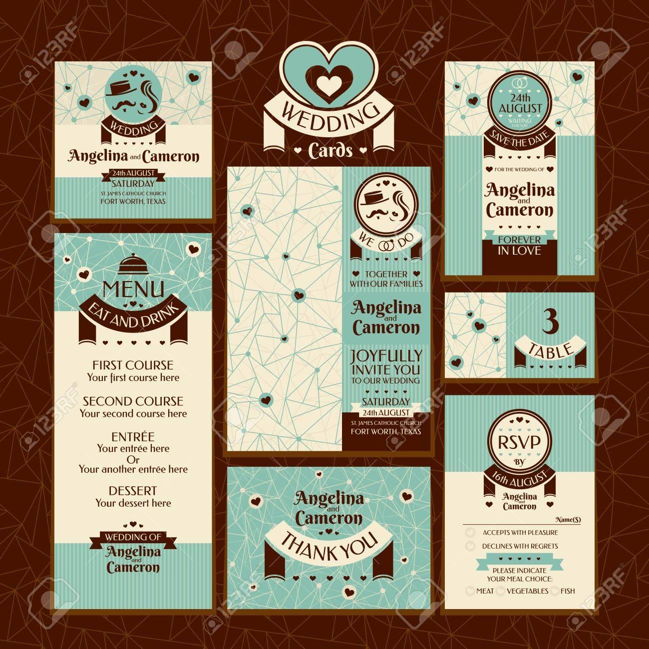 Set Of Wedding Cards Wedding Invitations Thank You Card Save