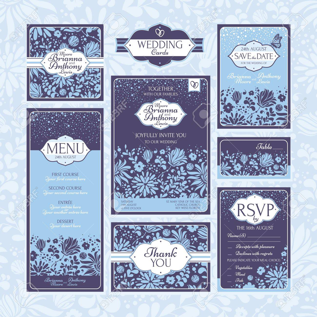 Set of floral wedding cards. Wedding invitations. Thank you card. Save the date card. Table card. RSVP card and Menu. Stock Vector - 21616764