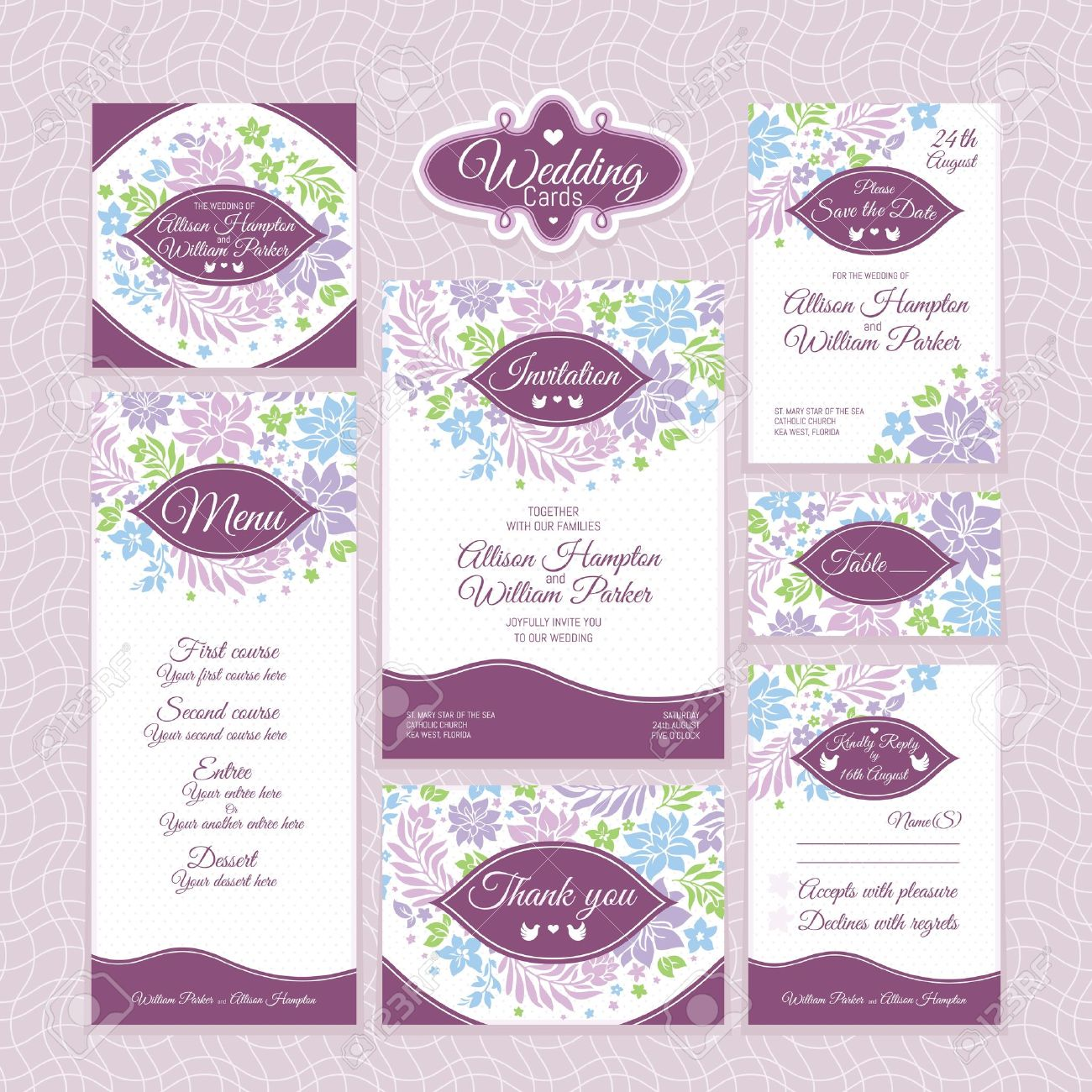 Set Of Floral Wedding Cards. Wedding Invitations. Thank You Card ...