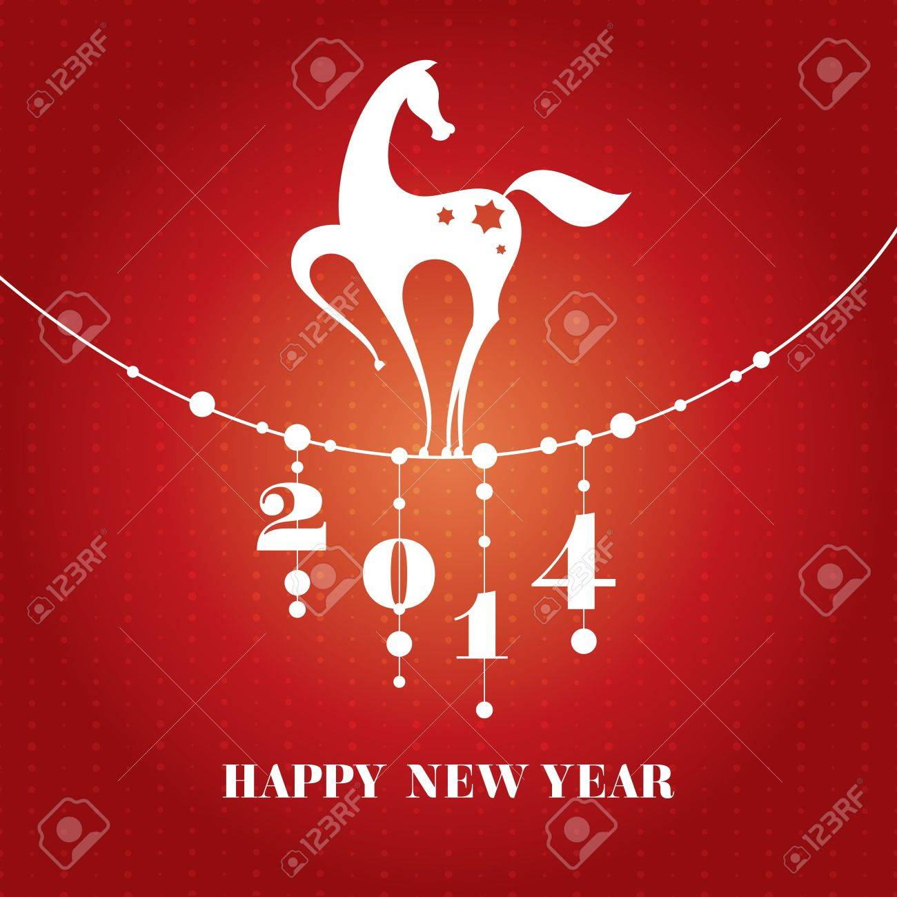 Chinese New Year Card With Horse Vector Illustration Royalty Free