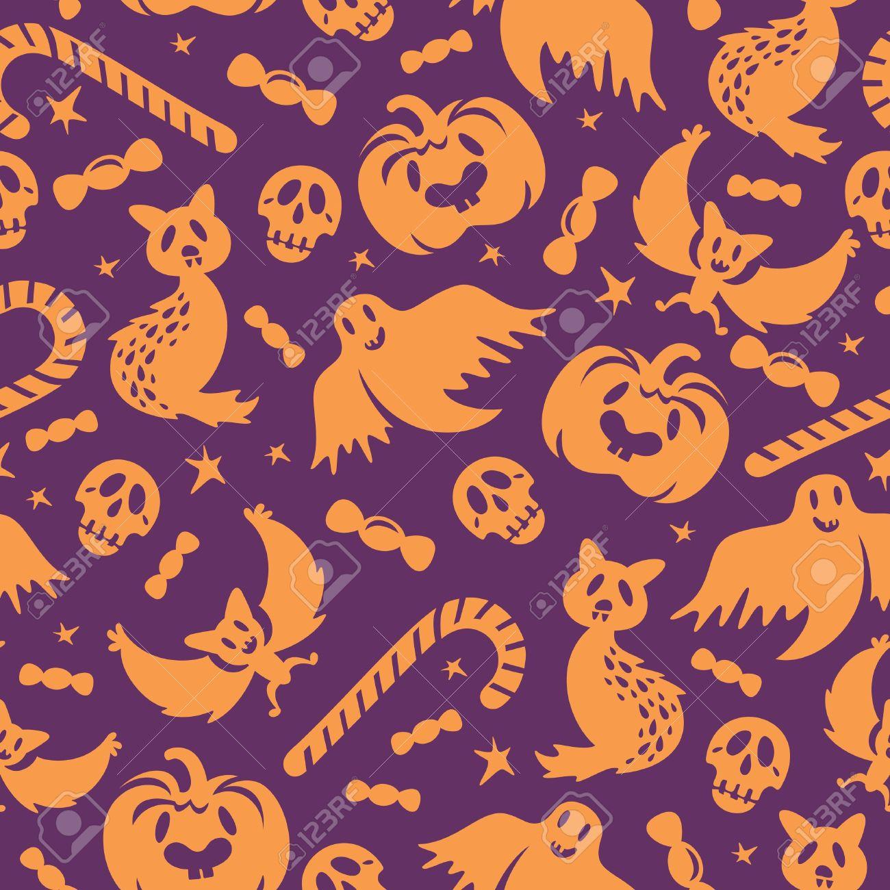 ハロウィーンのシームレスなパターン背景壁紙ベクトル イラストの