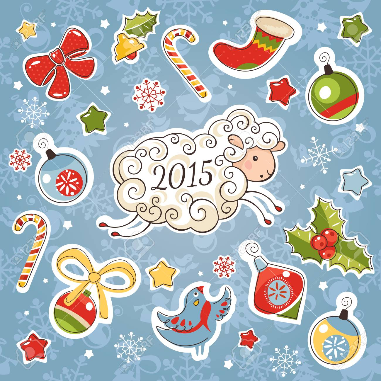 new year card with sheep and decoration elements vector illustration stock vector 34293899