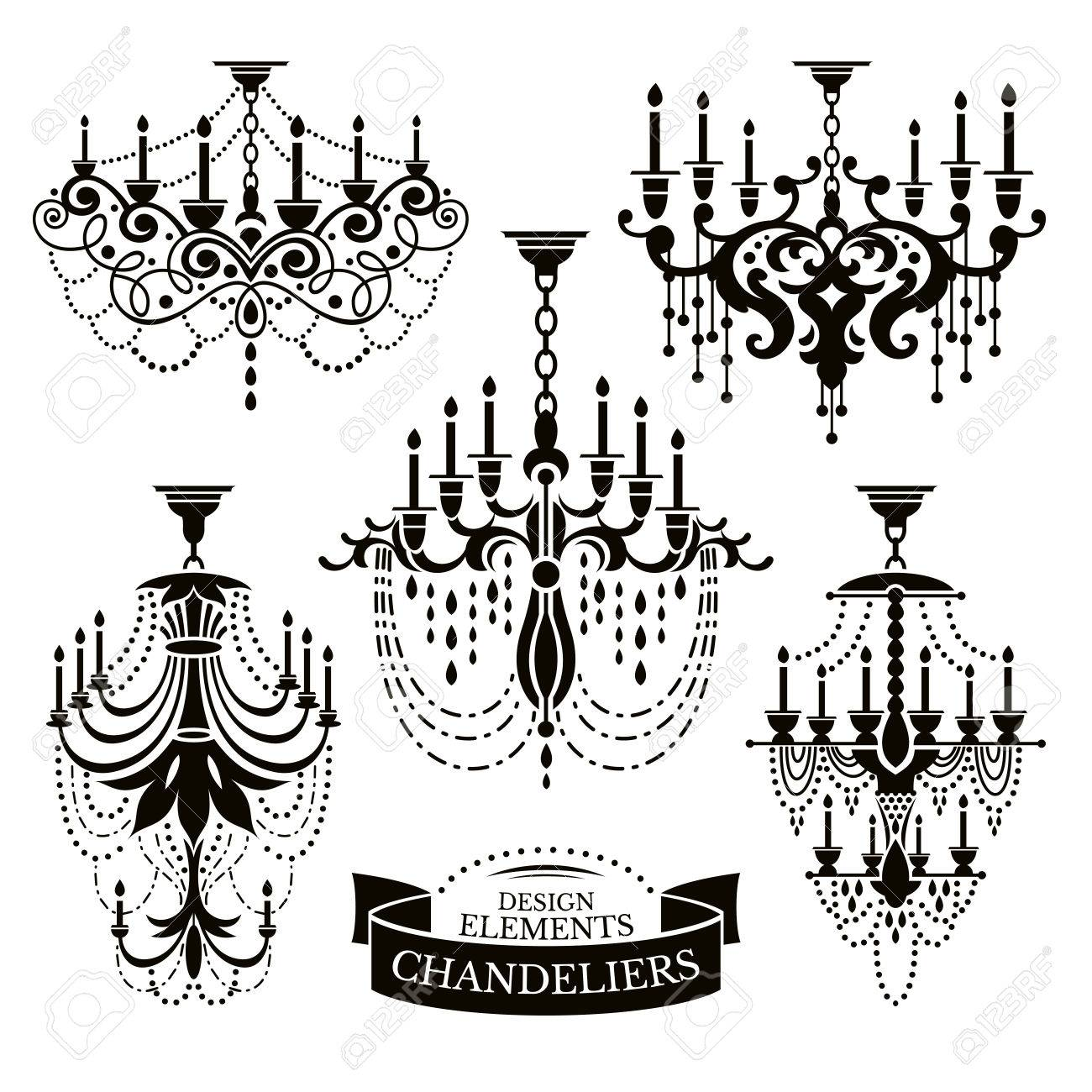 Set of chandelier silhouettes vector illustration - 36155128